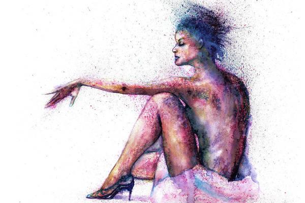 Woman Art Print featuring the painting Cat original oil painting by Natalja Picugina