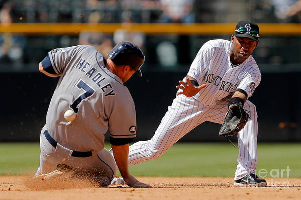 Sports Ball Art Print featuring the photograph Chase Headley and Jonathan Herrera by Doug Pensinger