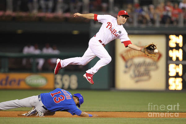 Citizens Bank Park Art Print featuring the photograph Chase Utley and Starlin Castro by Hunter Martin