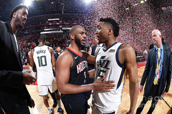 Playoffs Art Print featuring the photograph Chris Paul and Donovan Mitchell by Andrew D. Bernstein