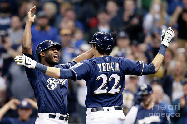 People Art Print featuring the photograph Christian Yelich and Lorenzo Cain by Dylan Buell