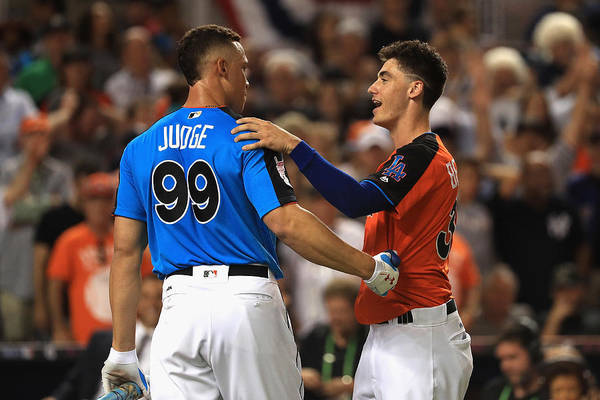 Three Quarter Length Art Print featuring the photograph Cody Bellinger and Aaron Judge by Mike Ehrmann