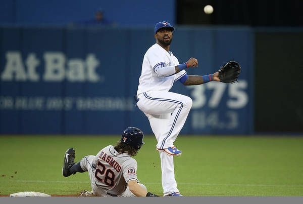 Double Play Art Print featuring the photograph Colby Rasmus and Jose Reyes by Tom Szczerbowski