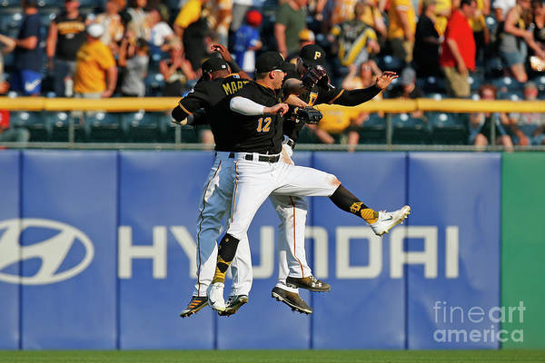 People Art Print featuring the photograph Corey Dickerson and Starling Marte by Justin K. Aller