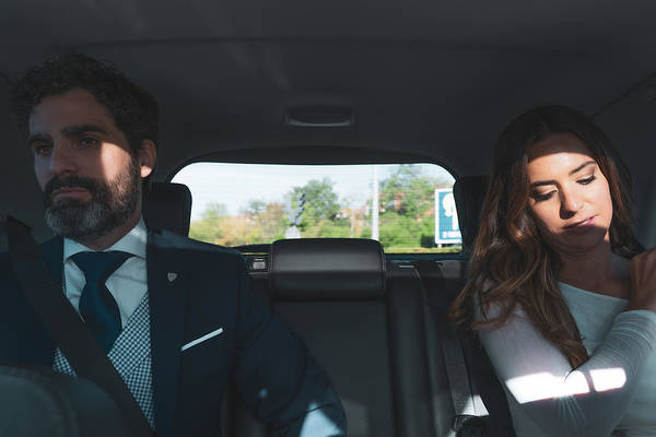 Young Men Art Print featuring the photograph Couple on a wedding day, inside the car by Ruben Earth
