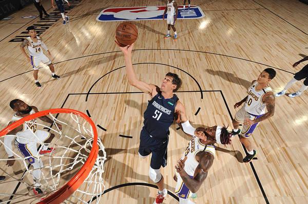 Nba Pro Basketball Art Print featuring the photograph Dallas Mavericks v Los Angeles Lakers by Jesse D. Garrabrant