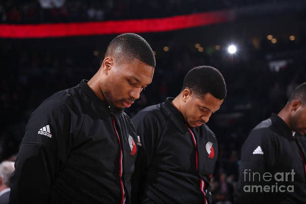Nba Pro Basketball Art Print featuring the photograph Damian Lillard and C.j. Mccollum by Sam Forencich