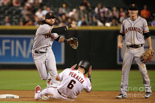Double Play Art Print featuring the photograph David Peralta and Brandon Crawford by Christian Petersen