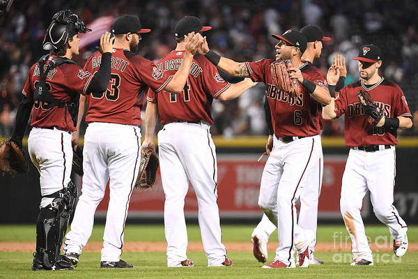 People Art Print featuring the photograph David Peralta, Paul Goldschmidt, and Chris Owings by Jennifer Stewart