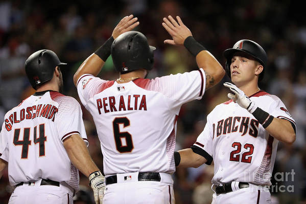 People Art Print featuring the photograph David Peralta, Paul Goldschmidt, and Jake Lamb by Christian Petersen