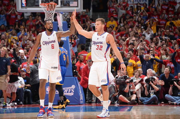 Playoffs Art Print featuring the photograph Deandre Jordan and Blake Griffin by Andrew D. Bernstein