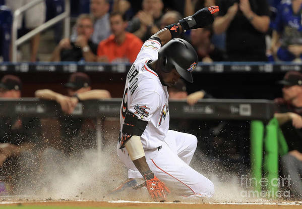 People Art Print featuring the photograph Dee Gordon and Giancarlo Stanton by Mike Ehrmann