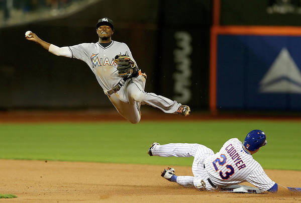 Double Play Art Print featuring the photograph Dee Gordon and Michael Cuddyer by Elsa