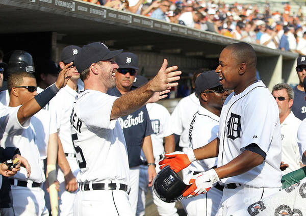 American League Baseball Art Print featuring the photograph Delmon Young, Justin Verlander, and Miguel Cabrera by Leon Halip