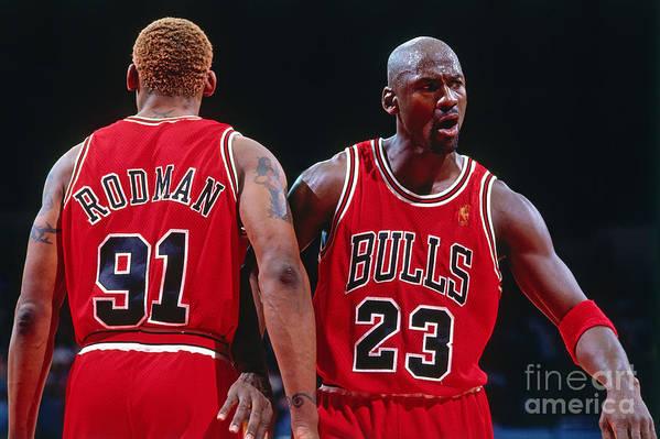 Chicago Bulls Art Print featuring the photograph Dennis Rodman and Michael Jordan by Andrew D. Bernstein
