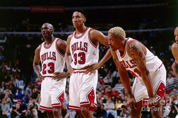Chicago Bulls Art Print featuring the photograph Dennis Rodman, Scottie Pippen, and Michael Jordan by Andrew D. Bernstein