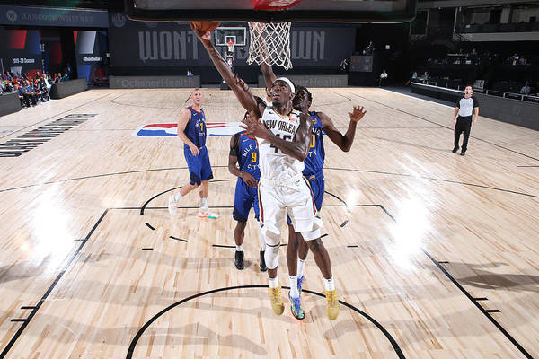 Nba Pro Basketball Art Print featuring the photograph Denver Nuggets v New Orleans Pelicans by Joe Murphy
