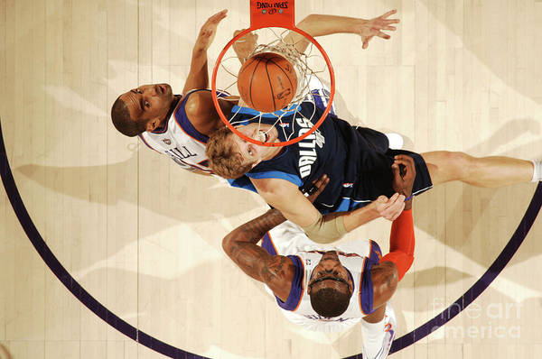Nba Pro Basketball Art Print featuring the photograph Dirk Nowitzki, Grant Hill, and Amar'e Stoudemire by Barry Gossage