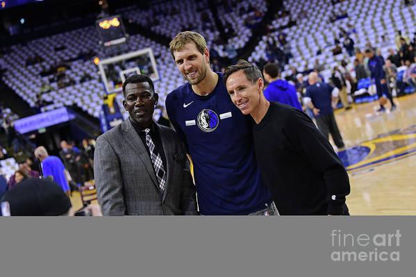 Nba Pro Basketball Art Print featuring the photograph Dirk Nowitzki, Steve Nash, and Michael Finley by Noah Graham