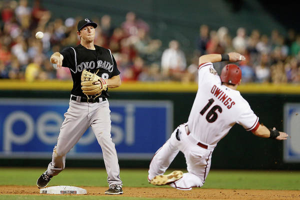 Double Play Art Print featuring the photograph Dj Lemahieu and Chris Owings by Christian Petersen