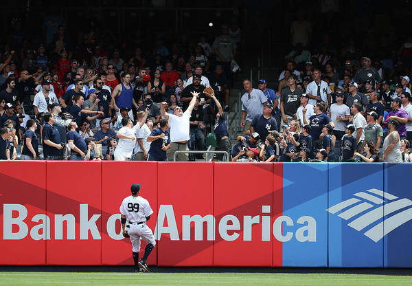 People Art Print featuring the photograph Domingo Santana and Aaron Judge by Al Bello