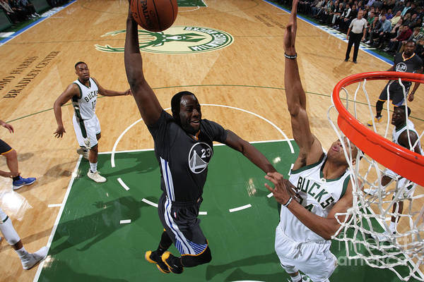 Nba Pro Basketball Art Print featuring the photograph Draymond Green and Giannis Antetokounmpo by Gary Dineen