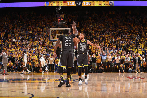 Playoffs Art Print featuring the photograph Draymond Green and Stephen Curry by Noah Graham
