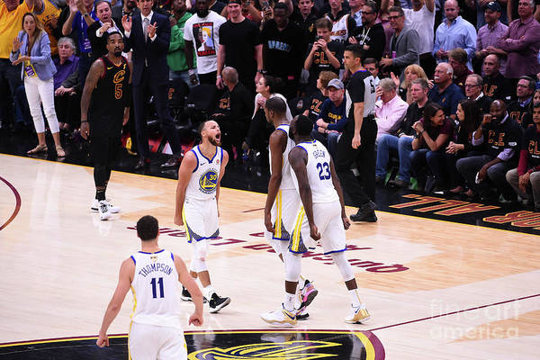 Playoffs Art Print featuring the photograph Draymond Green, Stephen Curry, and Kevin Durant by Noah Graham
