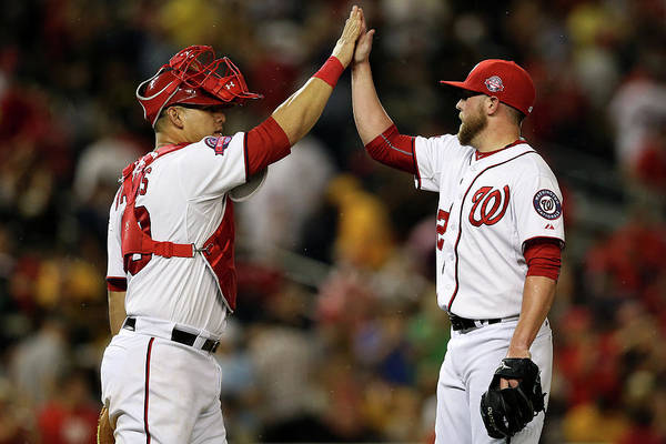 Drew Storen Art Print featuring the photograph Drew Storen and Wilson Ramos by Patrick Smith