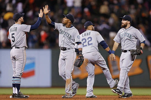 San Francisco Art Print featuring the photograph Dustin Ackley, Austin Jackson, And Brad Miller by Lachlan Cunningham