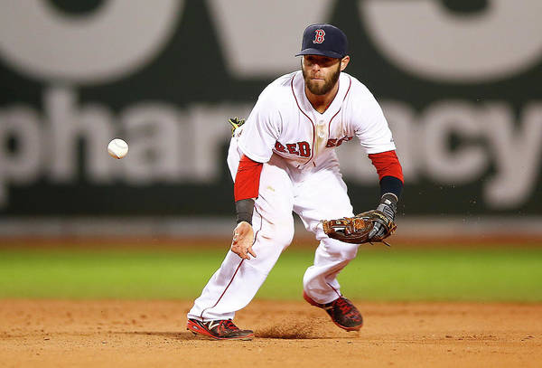 American League Baseball Art Print featuring the photograph Dustin Pedroia by Jared Wickerham