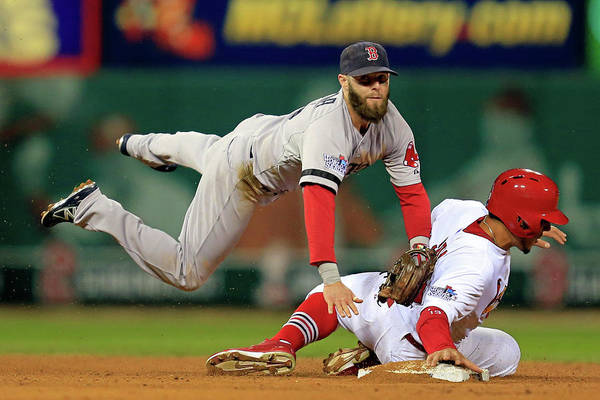 2nd Base Art Print featuring the photograph Dustin Pedroia, Jon Jay, and David Freese by Dilip Vishwanat