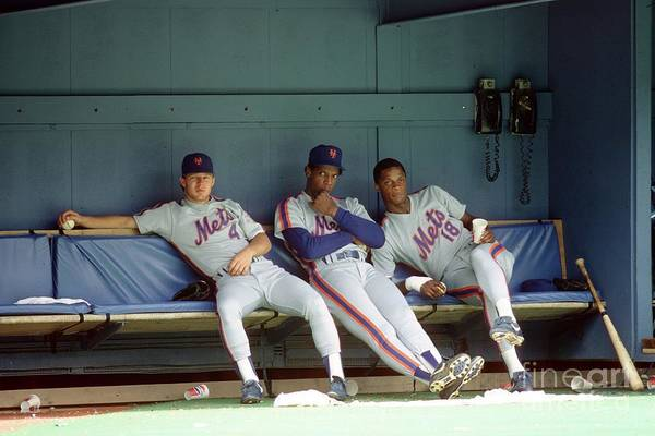 Dwight Gooden Art Print featuring the photograph Dwight Gooden, Darryl Strawberry, and Lenny Dykstra by George Gojkovich