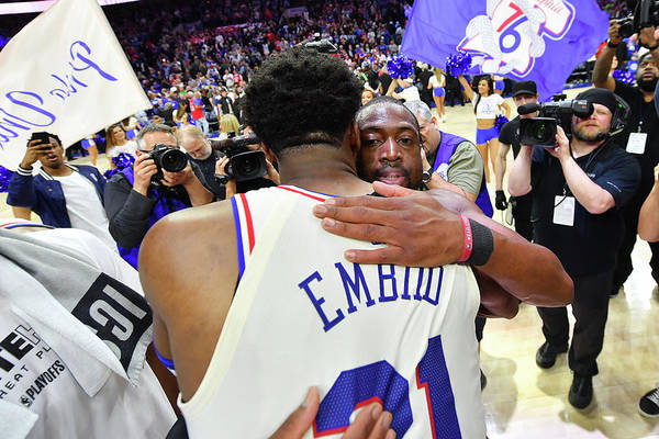 Playoffs Art Print featuring the photograph Dwyane Wade and Joel Embiid by Jesse D. Garrabrant