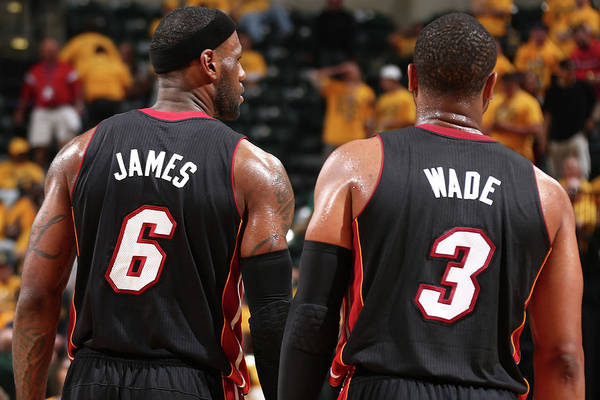 Playoffs Art Print featuring the photograph Dwyane Wade and Lebron James by Nathaniel S. Butler