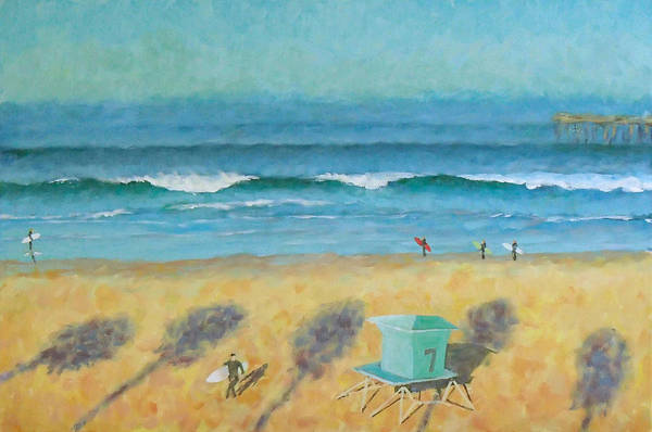 Life Guard Tower Art Print featuring the painting Tower Number Seven by Philip Fleischer