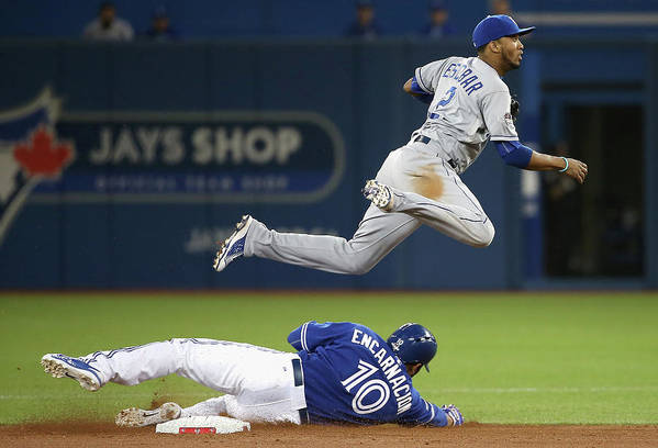 Double Play Art Print featuring the photograph Edwin Encarnacion and Alcides Escobar by Tom Szczerbowski