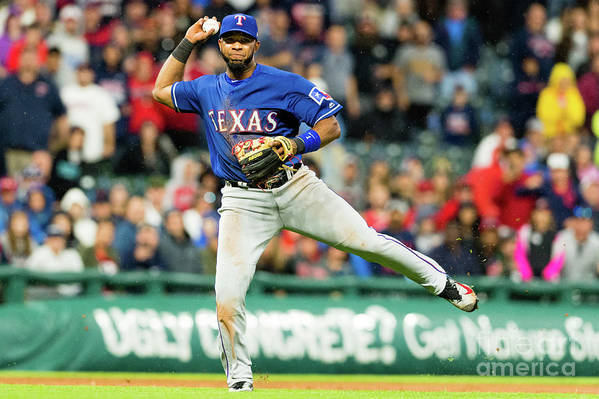 People Art Print featuring the photograph Elvis Andrus and Francisco Lindor by Jason Miller