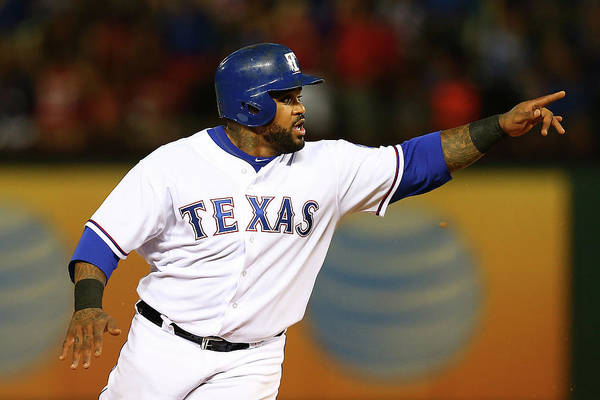 Three Quarter Length Art Print featuring the photograph Elvis Andrus and Prince Fielder by Sarah Crabill