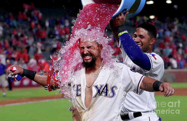 Ninth Inning Art Print featuring the photograph Elvis Andrus and Rougned Odor by Tom Pennington