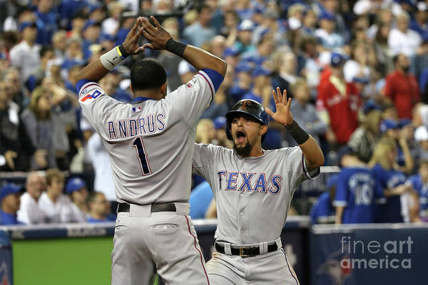 Game Two Art Print featuring the photograph Elvis Andrus and Rougned Odor by Tom Szczerbowski
