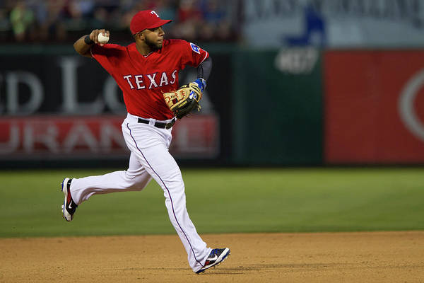 American League Baseball Art Print featuring the photograph Elvis Andrus by Cooper Neill
