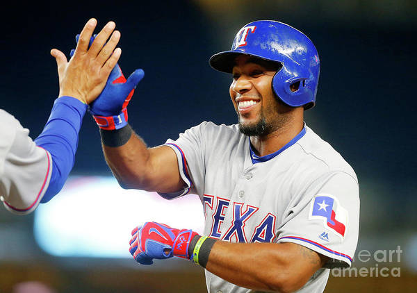 Ninth Inning Art Print featuring the photograph Elvis Andrus by Jim Mcisaac