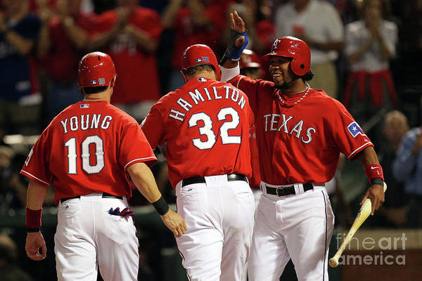 Playoffs Art Print featuring the photograph Elvis Andrus, Michael Young, and Josh Hamilton by Ronald Martinez