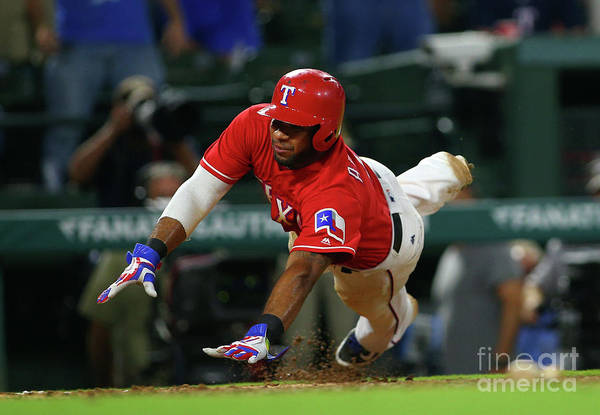 Ninth Inning Art Print featuring the photograph Elvis Andrus by Rick Yeatts