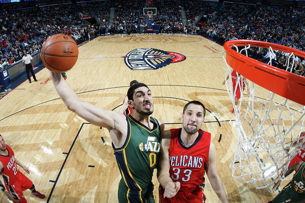 Smoothie King Center Art Print featuring the photograph Enes Kanter by Layne Murdoch