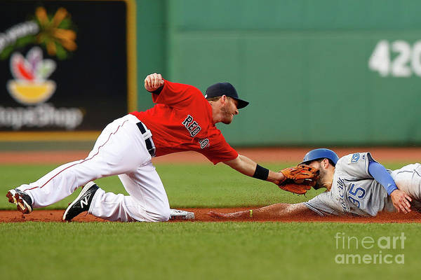 American League Baseball Art Print featuring the photograph Eric Hosmer and Stephen Drew by Jared Wickerham