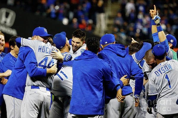 People Art Print featuring the photograph Eric Hosmer, Drew Butera, and Wade Davis by Al Bello