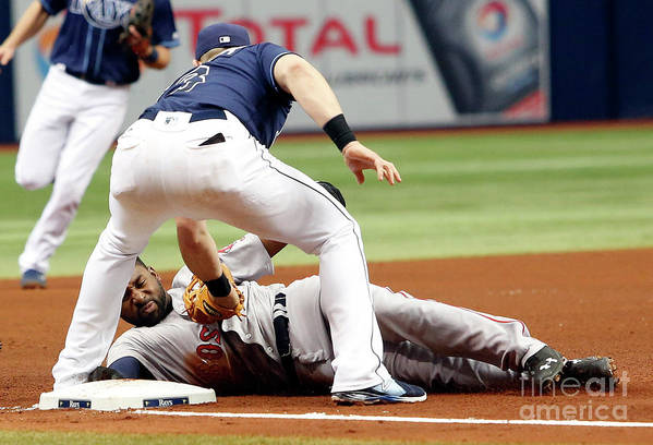 People Art Print featuring the photograph Evan Longoria and Jackie Bradley by Brian Blanco