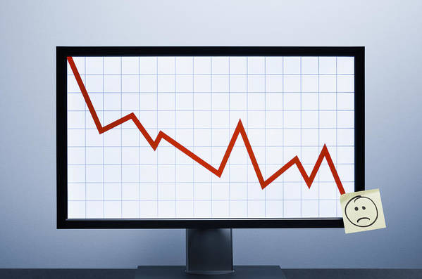 Defeat Art Print featuring the photograph Falling financial graph by Jorg Greuel